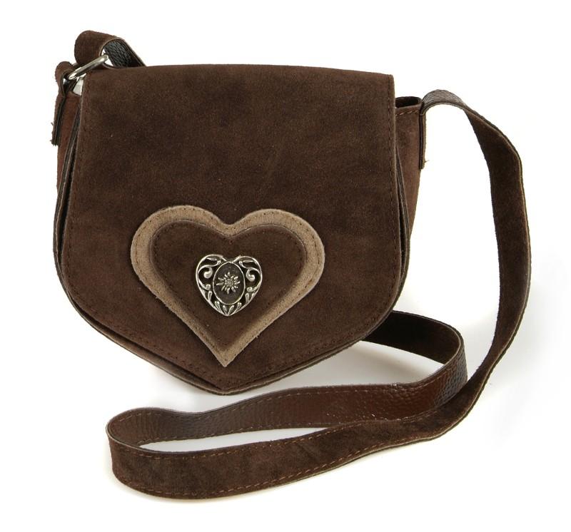 Wildledertasche in Herzform braun