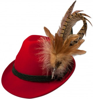 Trachten Felt Hat with Feathers, Red