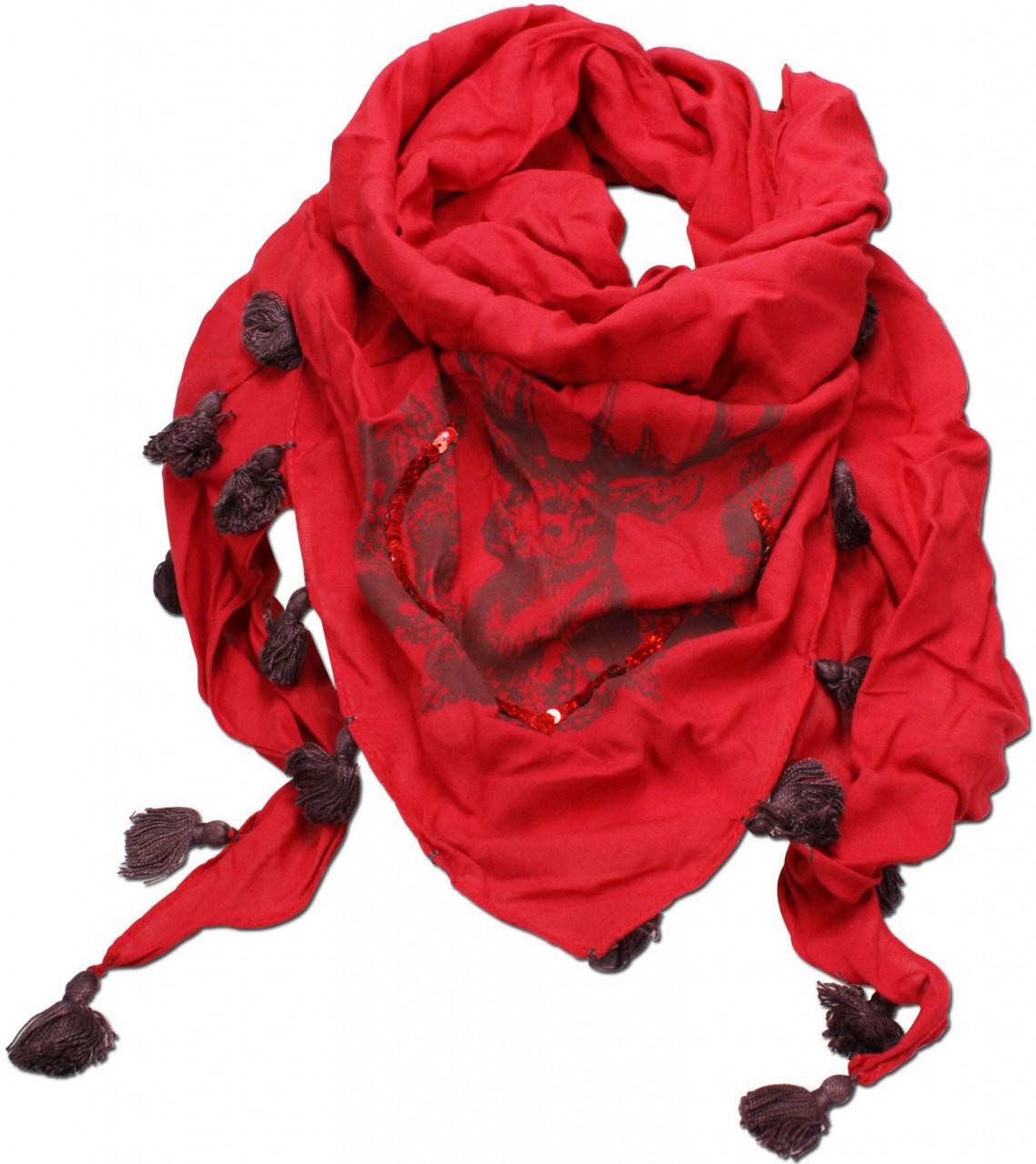 Dreiecks-Trachtentuch Hirsch rot