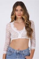 Preview: Dirndl blouse Cassandra 3/4 sleeves ecru