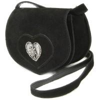 Preview: Wildledertasche in Herzform klein braun