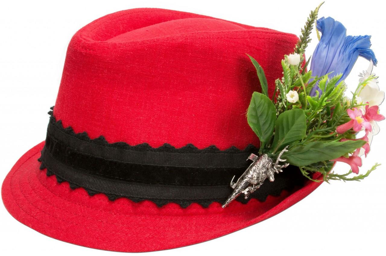 Leinenhut Alpenblümchen rot