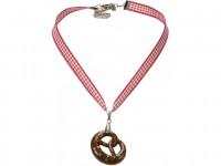 Vorschau: Trachten Halskette Brezel rot