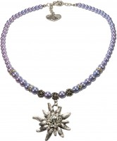 Vorschau: Perlenhalskette großes Edelweiß hellblau