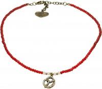 Vorschau: Perlenhalskette Strass-Brezel rot