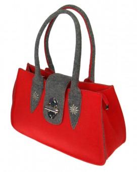 Handtaschen Filz rot-grau
