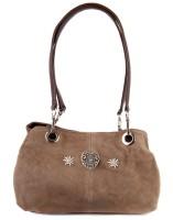 Handtasche Wildleder grau-braun
