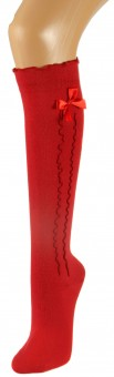 Ladies Stockings with Ruffle & Bow, Red