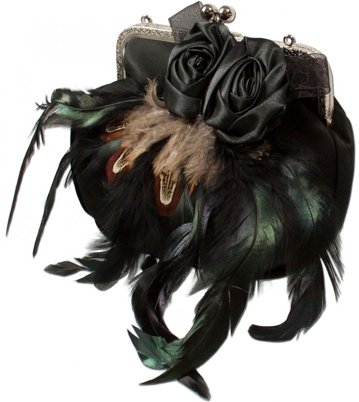 Trachten Satintasche Federn schwarz