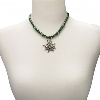 Perlenhalskette großes Edelweiß grün