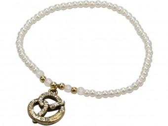 Trachten Perlenarmband mit Strass-Brezel cremeweiß