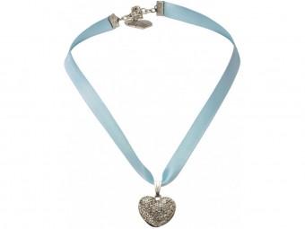 Satin Halskette mit Strassherzerl hellblau