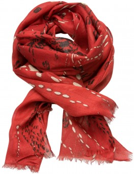 Trachten Scarf with Deer-Print, Red