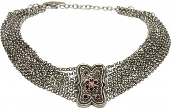 Trachten Goiter Necklace Tina, Antique Silver
