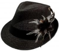 Vorschau: Strohhut Leni mit Federbrosche schwarz