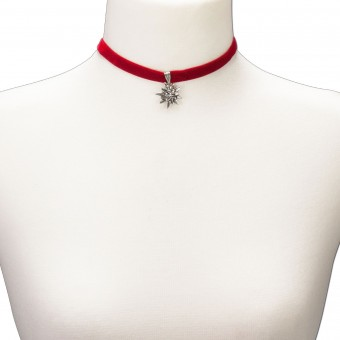Samtkropfband kleines Edelweiß rot