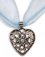 Chiffonband Herzkette mit Stein, hellblau Hellblau