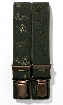 Hosenträger mit Jagdstickerei olivgrün