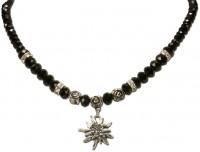 Vorschau: Perlenhalskette kleines Edelweiß schwarz