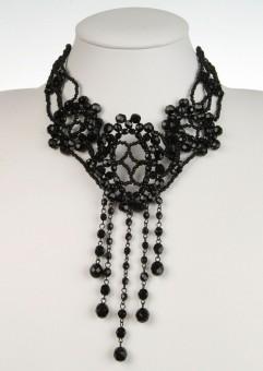 Collier Glasperlen schwarz