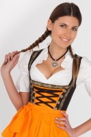 Black 3-piece midi dirndl with orange apron