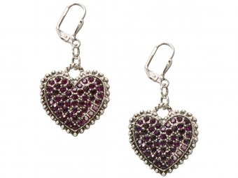Heart-shaped Rhinestone Earrings, Lilac