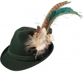 Felt Hat with Peacock Feathers, Green