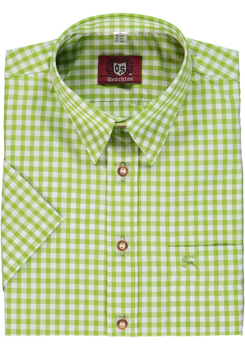 Trachten shirt Bertl lichtgroen geruit