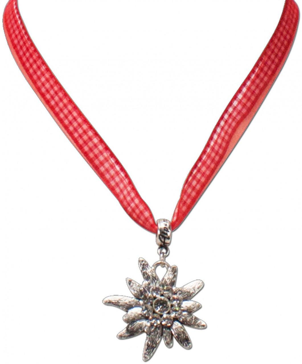 Karoband-Trachtenkette Edelweiß rot