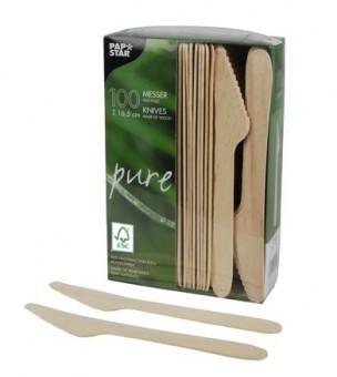 100 FSC Holz Messer 16,5cm