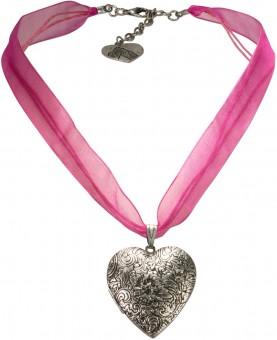 Organzakette Herzamulett pink