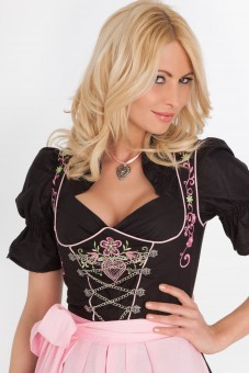Black, 3-piece midi dirndl with floral embroidery
