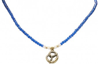 Pearl Necklace with Pretzel Pendant, Blue