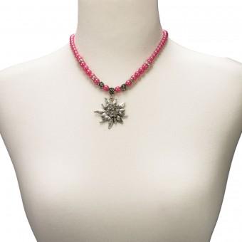 Perlenhalskette großes Edelweiß pink
