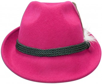 Trachten Felt Hat with Feather, Pink