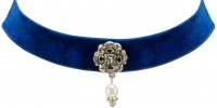 Vorschau: Trachten Kropfband mit Ornament blau