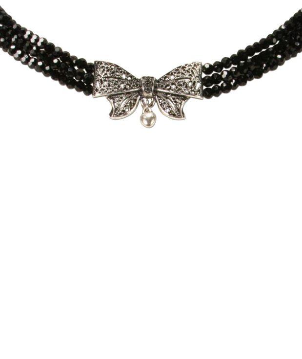 Perlen-Kropfkette Schleife schwarz