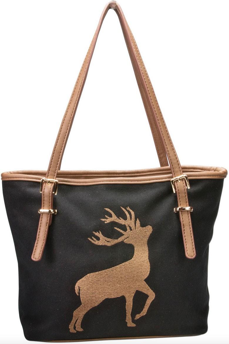 Trachten Handtasche mit Hirschstickerei schwarz