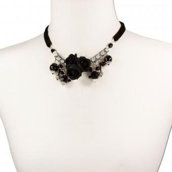 Blüten-Collier Rosalie schwarz