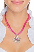 Preview: Satin Edelweiss Necklace, Pink
