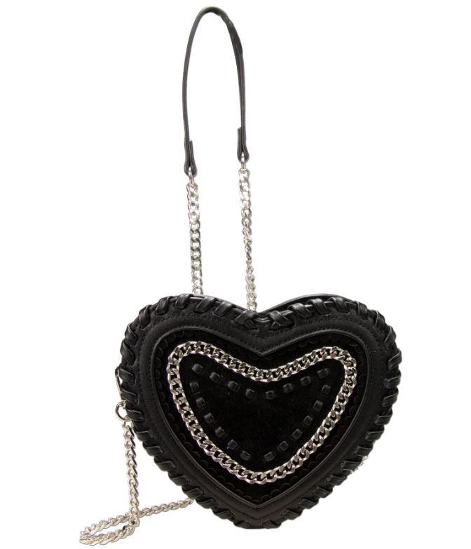 Herzförmige Trachtentasche schwarz