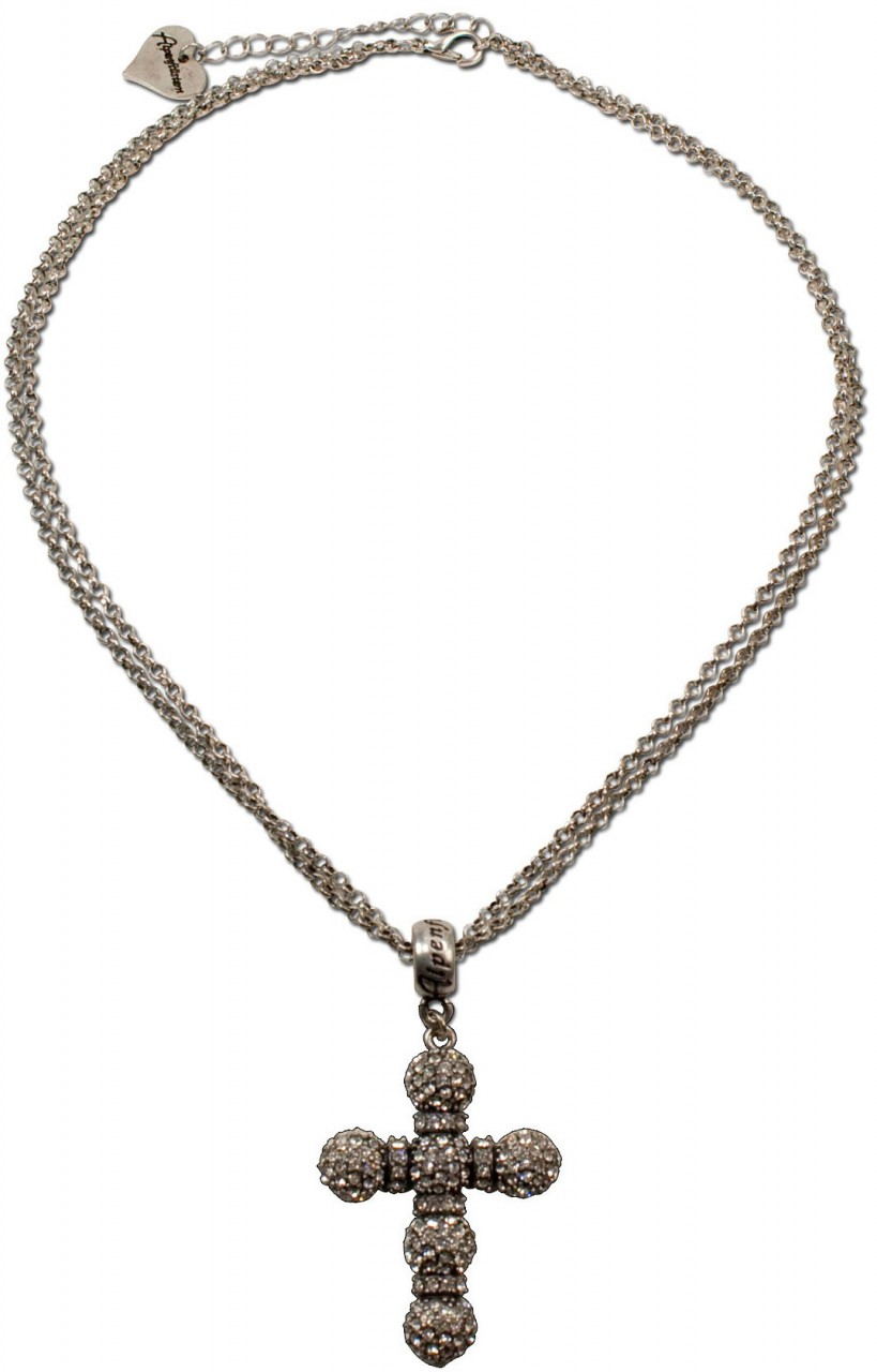 Halskette Strass-Kruzifix klar
