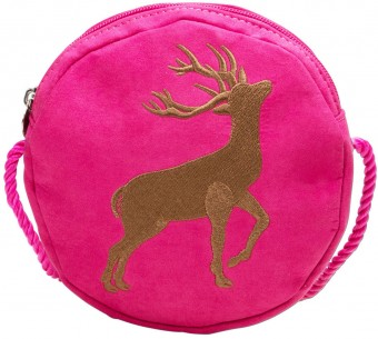 Trachten Pocket Bag with Deer Emblem, Pink