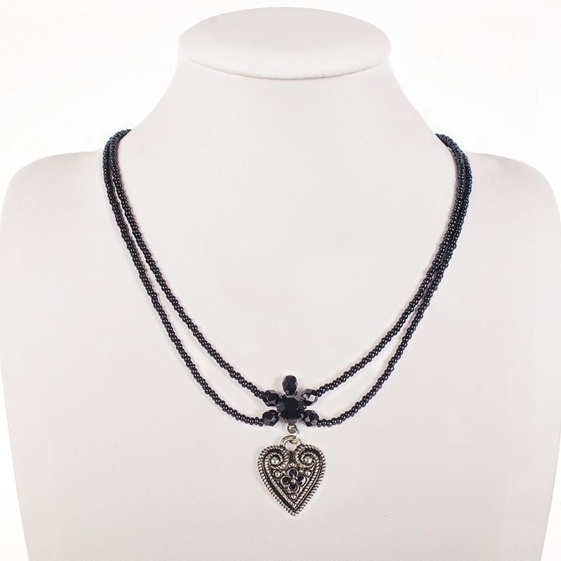 Perlencollier 2-reihig schwarz