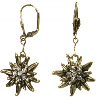 Trachten Earrings, Edelweiss, Old Gold