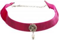 Vorschau: Trachten Kropfband mit Ornament pink