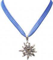 Vorschau: Karoband-Trachtenkette Edelweiß blau