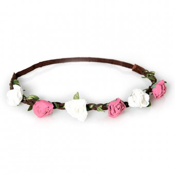 Haarband Annalies weiß-rosa