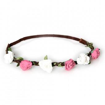 Haarband Annalies wit-roze
