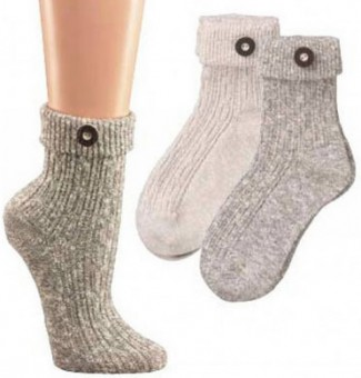 Dirndl Socks with Button, Natural Colour
